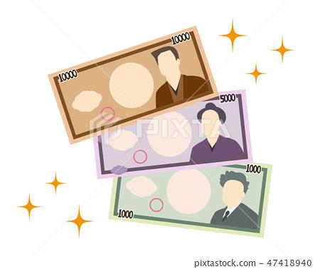 1000日元5000日元10000日元票据钱 47418940