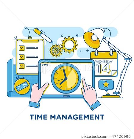 Time management concept illustration, thin line flat design 47420996