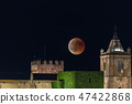 The red blood moon over the Caceres old town 47422868
