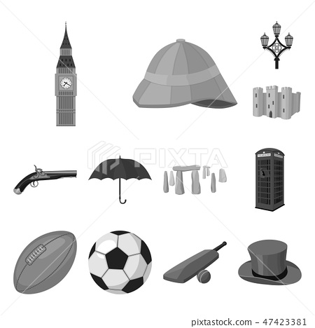 England country monochrome icons in set collection for design.Travel and attractions vector symbol 47423381