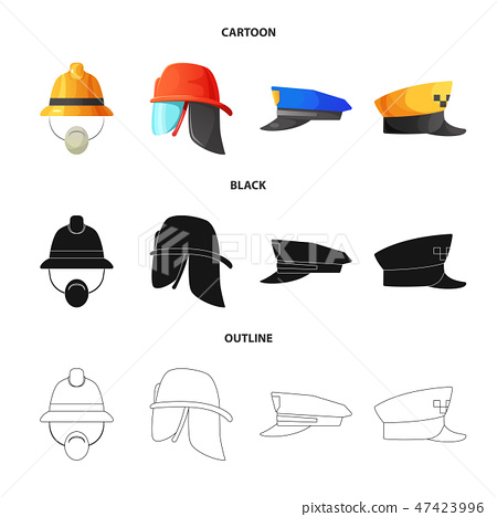 Isolated object of headwear and cap logo. Collection of headwear and accessory stock vector 47423996