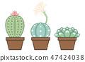 group of 2D cute pastel cactus illustration 47424038