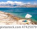 The view at the sea and mountain coast of Croatia. 47425079
