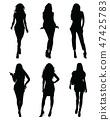 Black silhouettes of beautiful girls  47425783