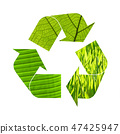 Illustration recycling symbol of green foliage 47425947