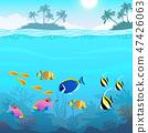 Beautiful underwater world, seascape, fish and sea bottom 47426063