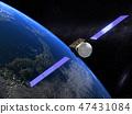 地球CG日本冉冉升起的太陽3D衛星 47431084