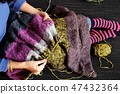 Asian woman knit woolen blanket, top view on day 47432364