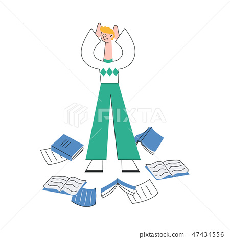 Vector illustration of overworked man standing surrounded by scattered paper documents on floor. 47434556