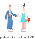 Business man and woman shaking hands in flat style. 47434595
