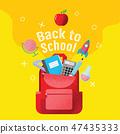 back to school sale banner, poster, flat design 47435333