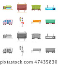 Vector illustration of train and station icon. Collection of train and ticket stock vector 47435830