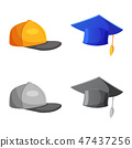 Vector illustration of headwear and cap sign. Collection of headwear and accessory vector icon for 47437256