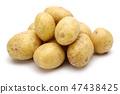 Heap of fresh potatoes on white background 47438425