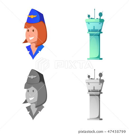 Vector illustration of airport and airplane symbol. Set of airport and plane vector icon for stock. 47438799