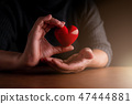 love valentine concept man hand touch red heart  47444881