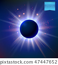 Vector eclipse with sparkling star lights and radiant, glowing flare around it. 47447652
