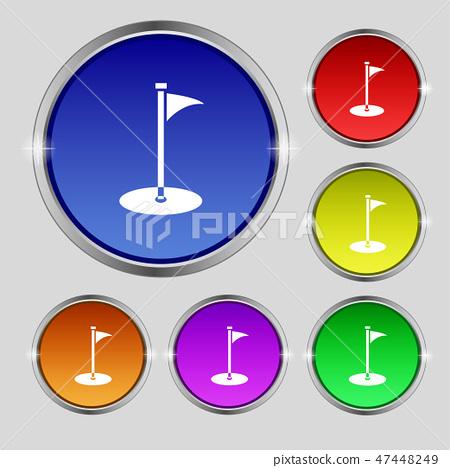 Golf icon sign. Round symbol on bright colourful b 47448249