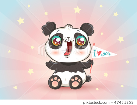 Cute panda with flag 47451255