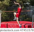 High jumper starting his jump 47451578