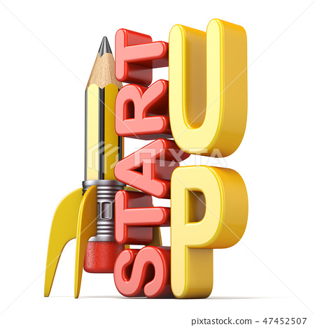 Pencil in the form of rocket with text START UP 3D 47452507