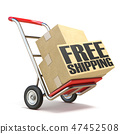 Hand truck with boxes and FREE SHIPPING text  3D 47452508