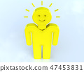 CG 3D 일러스트 입체 디자인 아이콘 표시 인 아이디어 발상 발명 미소 빛 전구 47453831