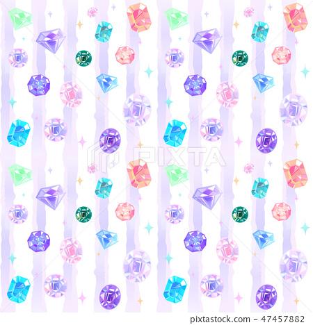 珠寶的無縫背景圖案。水彩圖案。 47457882