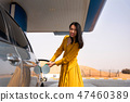 Woman adding fuel on the gas station 47460389