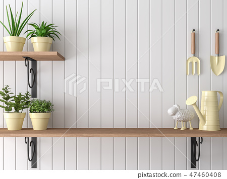 Wood shelf 3d render 47460408