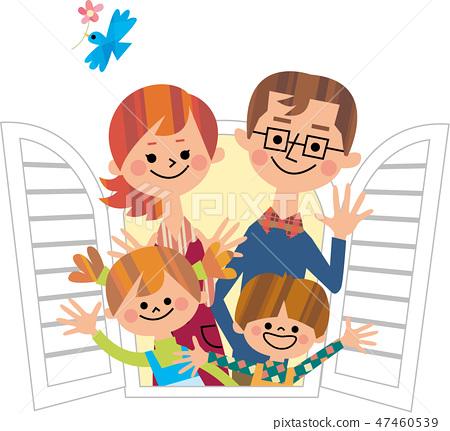 家庭揮舞著雙手從窗口 47460539