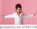 angry little child girl in white shirt with hairstyle 47463138