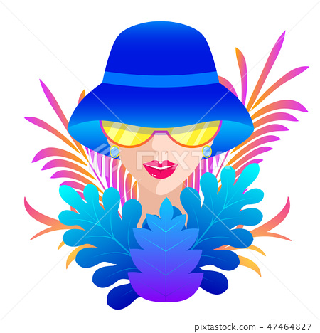 woman in blue hat 47464827