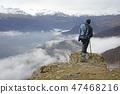 Landscape view of hazy autumn mountain hills  47468216