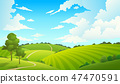 Summer field landscape. Nature hills fields blue sky clouds sun countryside. Cartoon green tree and 47470591