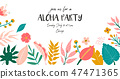 floral, tropical, invitation 47471365