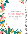 floral, tropical, invitation 47471366