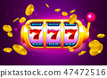 Spin and Win Slot Machine with Icons and Coins 47472516