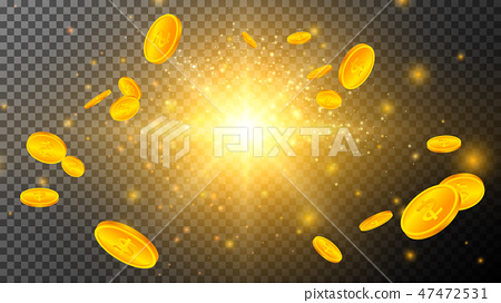 Golden Coins with Light Effects on Transparent 47472531