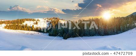 panorama of a beautiful winter landscape at sunset 47472709