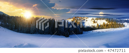 panorama of time change above winter landscape 47472711