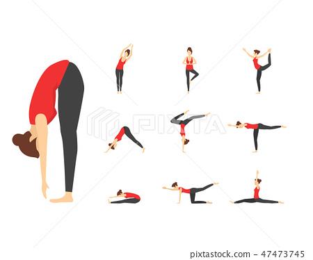 Cartoon Woman Yoga Poses Icons Set Vector Stock Illustration 47473745 Pixta