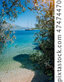 Olive leaf frame with mediterranen bay and Luxury yacht . Summer beach vacation relaxation retreat 47474470