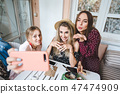 Three girls at the table 47474909