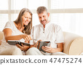Mature couple on a couch with tablet 47475274
