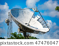 Satellite dish in the forest with sighns of rust 47476047