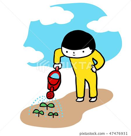 庭院澆灌的從事園藝的芽Aoki Irokun傳染媒介材料 47476931