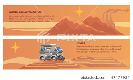 Banner Illustration Space Mission on Red Planet 47477984