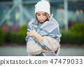 Cold and flu. Woman get sick and cough, wearing autumn clothes 47479033