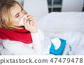 bed, female, sick 47479478